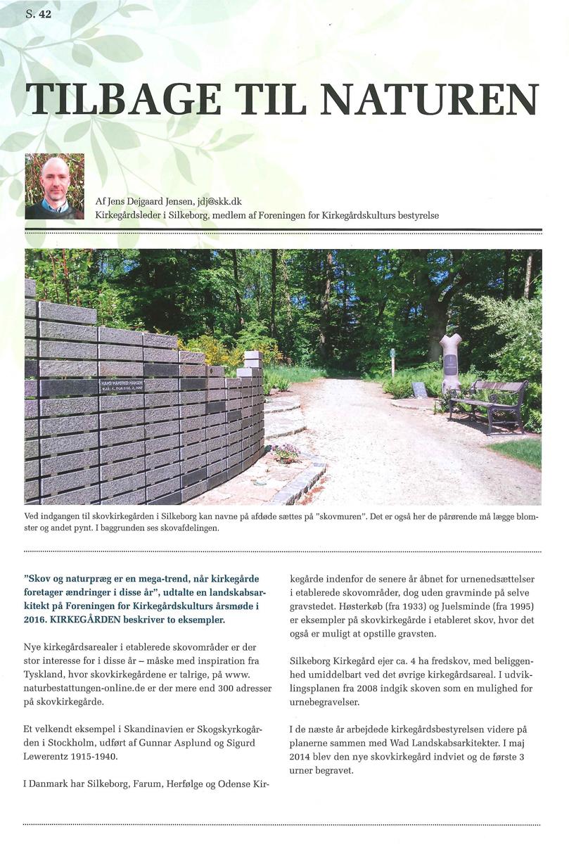 Artikel om mindemuren på Silkeborg skovkirkegård: Tilbage til naturen
